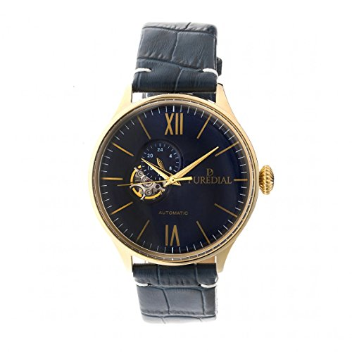 Puredial Watch Stainless Steel Case, Gold Tone, with Genuine Blue Leather Band, Automatic Movement...