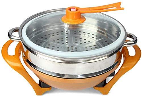 YAYY Elektrischer Wok Multifunktions-elektrischer heißer Topf rauchfreier Topf im chinesischen Stil mit Dampfgarer 5 6L(Upgrade)