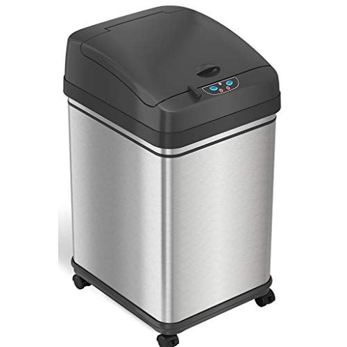 Price comparison product image iTouchless Glide 8 Gallon Pet-Proof Sensor Trash Can with Wheels and Odor Control,  Stainless Steel Kitchen Garbage Bin Stops Dogs and Cats Getting in,  Battery or AC Adapter Power (Both not Included)