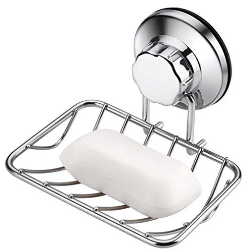ARCCI Seifenschale mit Vakuum Saugnapf, Solide Edelstahl Seifenablage ohne Bohren, Dusche Ablage mit Kräftige Saugleistung, Seife Halter Schwammhalter für Dusche Badezimmer Küche