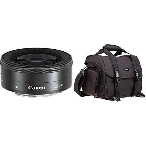 Canon EF-M 22mm F/2 STM Pancake-Objektiv (43mm Filtergewinde) schwarz & AmazonBasics - Große L Umhängetasche für Kamera und Zubehör, Schwarz mit grauem Innenfutter