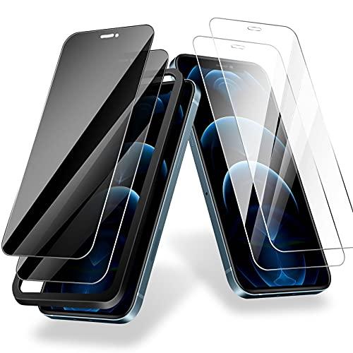 AROYI Protector de Pantalla de Privacidad Compatible con iPhone 12/12 Pro 6.1'' cristal templado, 2 9H Cristal Vidrio Templado y 2 Intimidad Protector de Pantalla, [Anti-Espía] [Sin Burbujas]