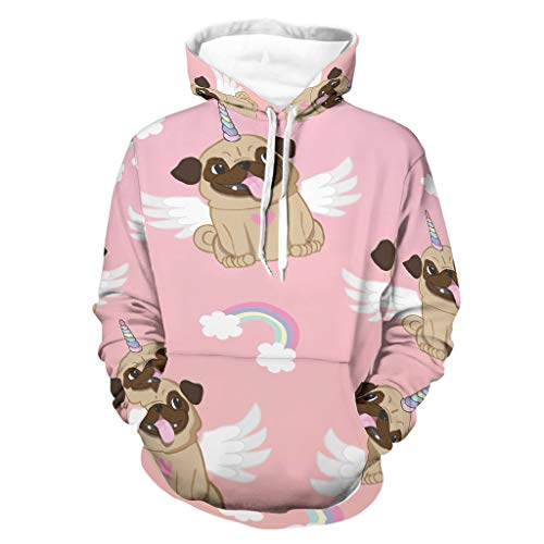 Suéter de unicornio con capucha suave y bolsillo de canguro bifurcado para Wokers Sporters para fiesta de trabajo