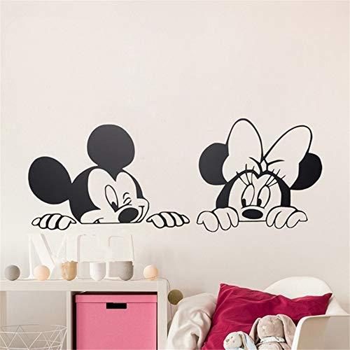 pegatina de pared frases Mickey Mouse Etiqueta de La Pared Calcomanía de Dibujos Animados Pegatinas de Pared Niños Dormitorio Arte Decoración Lindo Mickey Minnie Mouse Bebé Nursery Art Pared de Vinilo