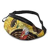 XCNGG Bolso de cintura corriente bolso de cintura de ocio bolso de cintura bolso de cintura de moda Vintage Thanksgiving Turkey Pumpkin Fanny Pack Lightweight Waist Pack Unisex Slim Hip Bum Bag with A