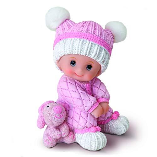Mopec Figura pastel niña bebé sentada, Rosa, 10 cm