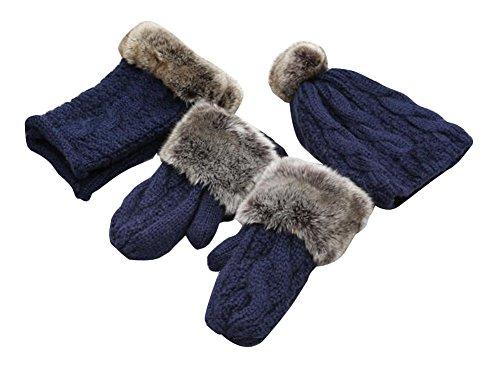 Beau Femme d'hiver Trois ensembles de gants et foulard et un chapeau