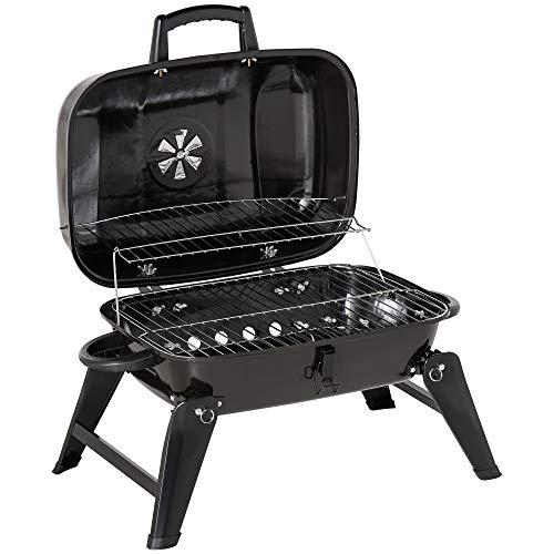 Outsunny Barbecue BBQ Grill a Carbonella Portatile Pieghevole da Tavolo Ferro, Porcellana 59x43x36 cm Nero