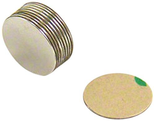 first4magnets F290SA-10 - Juego de 10 imanes de neodimio (adhesivos, N42, 15 x 0,5 mm, con fuerza de sujeción de 0,28 kg)