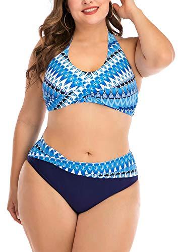 Blue Geometrical Print Halter Women's Plus Size Bikini Sets Chic Two Pieces Swimsuit Cute Modest Bathing Suit
