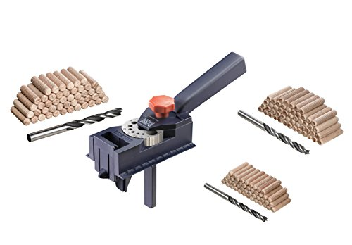 kwb Dübelprofi Komplett-Set – Universal-Bohrhilfe inkl. CV Holzbohrer und Holzdübel