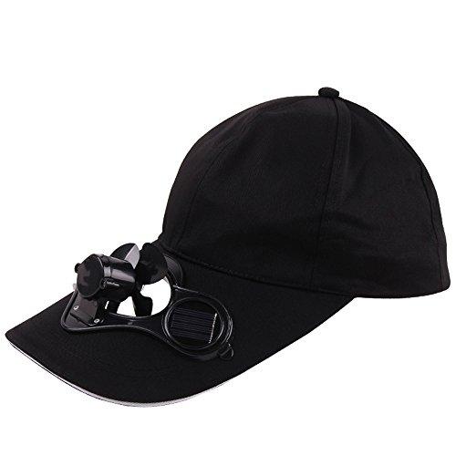 ROUNYY Damen Herren Ventilator solar Cap Hiking Cap Sommer Outdoor-Solar- Hut die kuehlen Ventilator Fuer Golf Baseball Sport - Schwarz (Schwarz)
