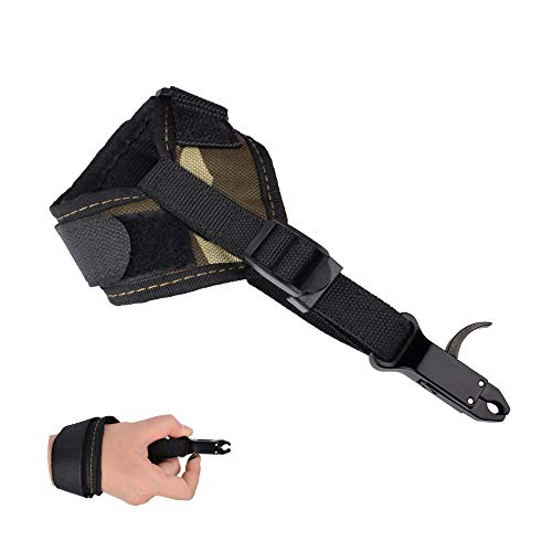 Compound Bow Release Archery - Adjustable Wrist Strap Caliper Release Aid Shooting Wrist Trigger Right Left Handed (Camo)