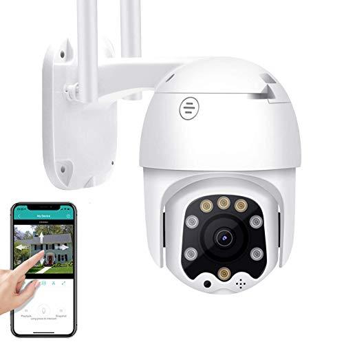 Cámara de Vigilancia Exterior 1080P HD 3G 4G SIM Tarjeta PTZ IP Cámara Exterior Visión Nocturna en Color 2-Way Audio Alerta Email Control Remoto Impermeable Detección de Movimiento 【Cámara】