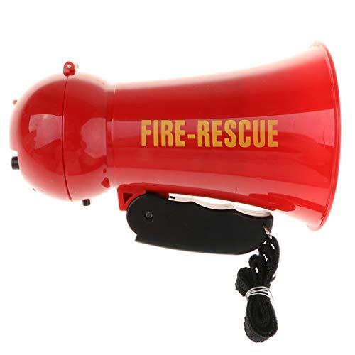 dailymall Juguetes Megáfono de Bombero con Sonidos de Sirena para Disfraz de Bombero, Juego de Rol de Rescate de Fuego para Niño