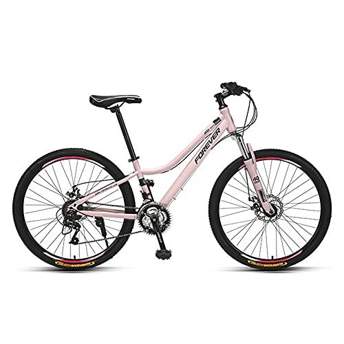 Bicicletas, Bicicleta De Montaña De 26 Pulgadas, Bicicleta De Marco De Acero De Alta Velocidad De 24 Velocidades Con Marco Curvado De Lapso Bajo, Bicicleta Antideslizante De Su(Size:26inch,Color:Rosa)