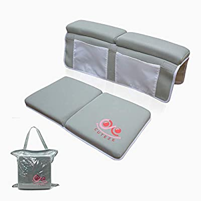 Cuteze Baby Bath Kneeler and Elbow Rest, Non-Slippery with 1.5 inches Thick Padding, Large Pockets for Toys and Accessories, Easy Install and Remove, Quick Dry, Unisex