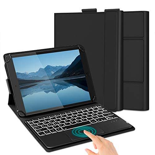 Jelly Comb Funda de Teclado Touchpad, Teclado retroiluminado Bluetooth extraíble con Trackpad para Tableta Android/Windows/iOS de 9-11 Pulgadas, diseño en español, Negro