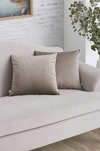 Easycosy - Pack Funda de Cojín Decorativo Luxury para Sofá - 45x45 - Tejido Terciopelo - Ideal para Decorar su sofá - Color Beige.