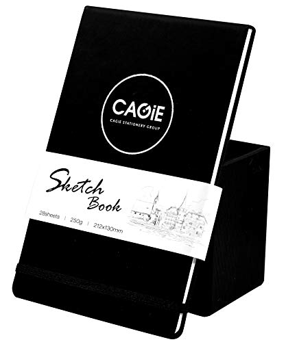 """Sketch Book, Travelogue Drawing Book, Note Pad, 250g Art Paper,Faux Leather and Hardbound Cover, Blank Paper Drawing,Artist Rectangle Watercolor Journal(5.2""""x8.5"""") Cold Press Paper"""