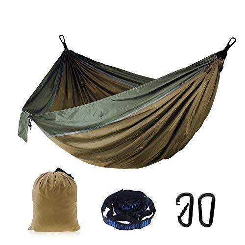 Hamaca individual doble para acampada, ligera y portátil, de nailon, para senderismo, viajes, senderismo talla única Camel Fight Army Verde