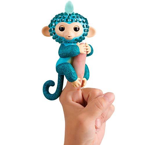 WowWee Fingerlings Monkeys - Fingerblings - Glam (Turquoise/Blue) - Friendly Interactive Toy