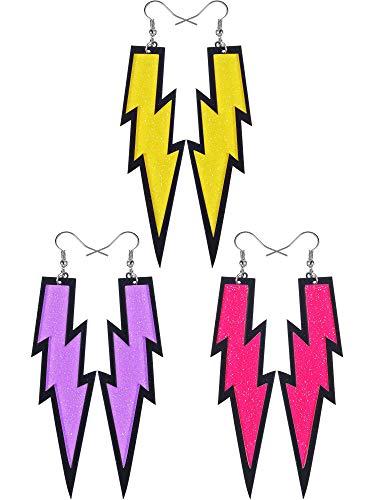3 Pairs Women Women's 80s LIghtning Bolt Earrings