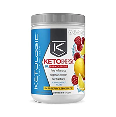 KetoLogic BHB Exogenous Ketones Powder with Caffeine (30 Servings) - Keto Pre-Workout, Boosts Ketosis, Energy & Focus - Support Keto Diet with Beta-Hydroxybutyrate Keto BHB Salts - Raspberry Lemonade