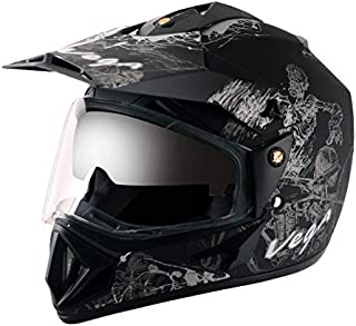 Vega Off Road OR-D/V-SKT-DKS_M Sketch Full Face Graphic Helmet (Dull Black and Silver, M)