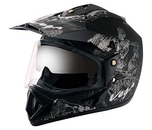 Vega Off Road OR-D/V-SKT-DKS_M Sketch Full Face Graphic Helmet (Dull Black and...