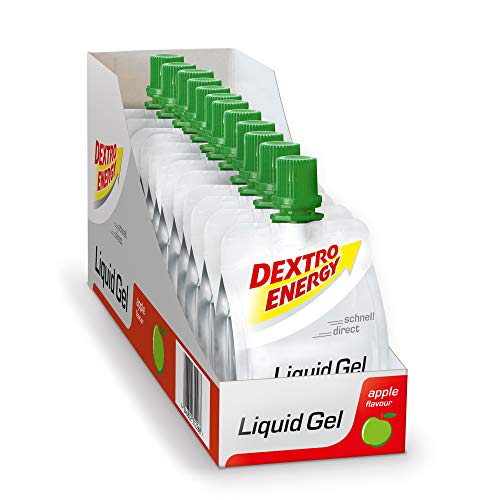 Liquid Energy Gel, 12 x 60ml Dextro Energy Liquid Gel Apfel, Energieriegel Alternative, Mit Traubenzucker, Ideal für Unterwegs, 100% Vegan