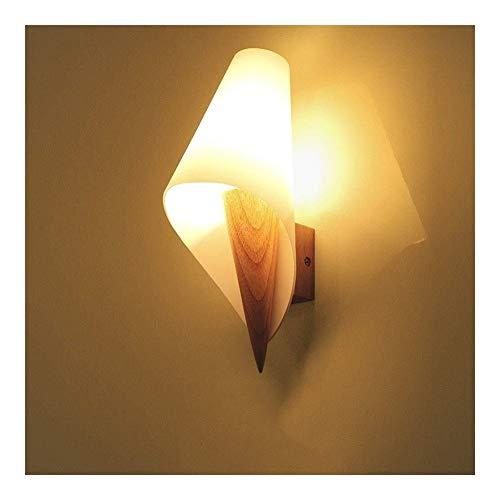 Retro mini lámpara de pared muro cortina de cristal moderna y separada de la pared creativa de la cama lámpara de concha de madera nórdica de la lámpara lámpara de pared de la sala sofá minimalista E2