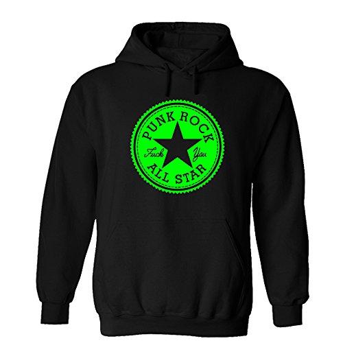 Punk Rock All Star Hoodie Fuck You Seitendruck Sweatshirt Pullover Schwarz (XXL, Schwarz/Grün)