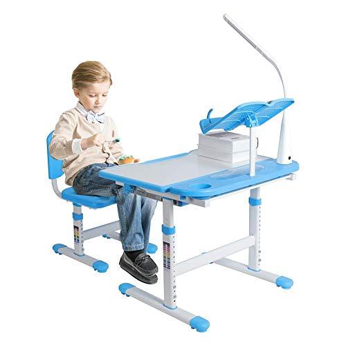 N/Z Wohngeräte Höhenverstellbarer Kinderschreibtisch und bequemer Stuhl mit Lampe Kinderstudientisch 100~240V