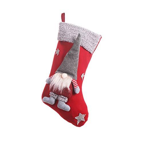 Ycncixwd Calcetín de Navidad con bolsa de regalo de gnomo sueco Papá Noel colgante adorno decoración del hogar