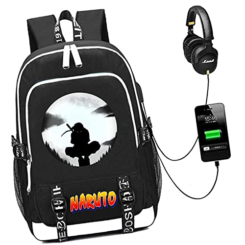 Electrical Shopping Zaino con Idromassaggio Naruto Cartoon,Zaino per Notebook da Viaggio con Porta di Ricarica USB,15,6 Pollici,Adatto A Bambini di età Compresa tra 7 E 15 Anni,Nero,C5