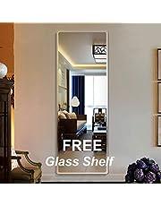 Creative Arts n Frames Glass Wall Mirror (mirror: 18 x 48 inch, shelf: 18 x 6 inch, Silver)
