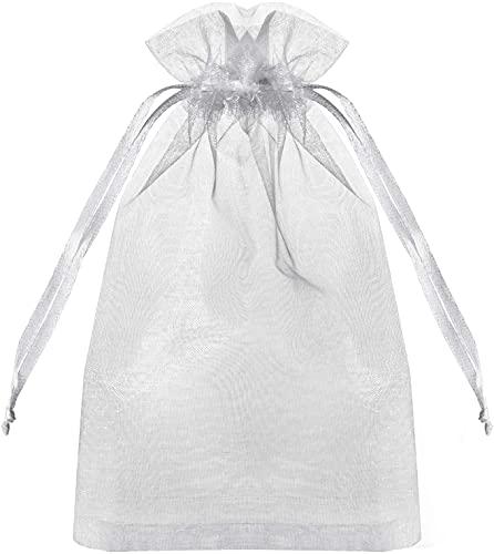100 x hochwertige Organza-Beutel, weiße Hochzeits-Gastgeschenkbeutel mit Kordelzug, 10,2 x 15,2 cm, Schmuck-Geschenktüten für Party, Schmuck, Festival, Make-up, Organza-Geschenkbeutel, Netz-Geschenktüten, Kordelzugbeutel