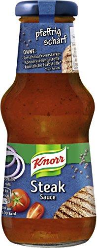 Knorr Schlemmersauce Steak (mild-würzig mit Zwiebeln und schwarzem Pfeffer), 6er Pack (6 x 250 ml)