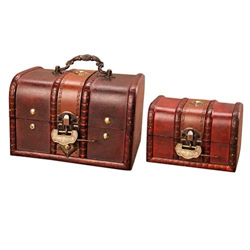 Katigan Caja de Cofre del Tesoro de Madera, Conjunto de 2 BaúL de Almacenamiento Decorativo de Madera para Recuerdo de Joyas Piratas (Hebilla MetáLica con Cerradura)