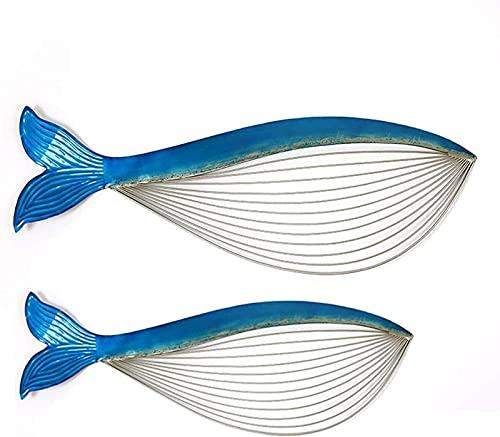 WQF Escultura de Arte de Pared de pez de 2 Piezas, decoración de Pared de diseño de Metal Hueco Azul, Adorno de Escultura de decoración Colgante de Ballena para Sala de Estar Dormitorio