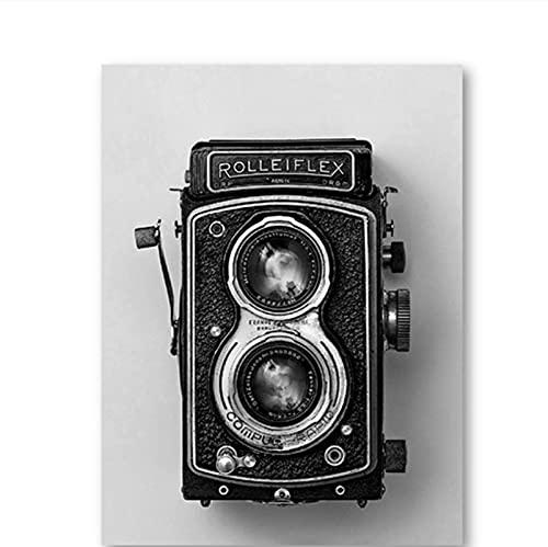 Rolleiflex Póster de cámara antigua, negro, blanco, vintage, cámara, impresión, regalo, fotografía, arte de pared, lienzo, pintura, decoración retro, mural-50x70 cm x1 sin marco