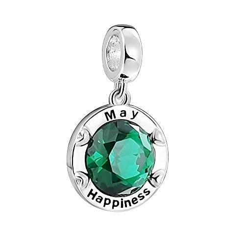 AMATOLOVE May Birthstone Charms for Bracelets Mens Bead Charm Family Happiness Happy Birthday Charm Gifts