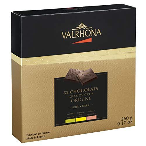 Valrhona - Coffret DEGUSTATION GRANDS CRUS ORIGINE - 3 grands crus de chocolat Noir: Manjari Alpaco Tainori - Boites de 52 carrés - 260g