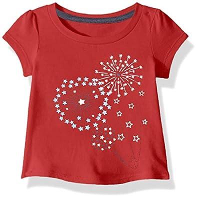 Carhartt Baby Girls Short Sleeve Cotton Graphic Tee T-Shirt, Dandelion (Tango Red), 9 Months