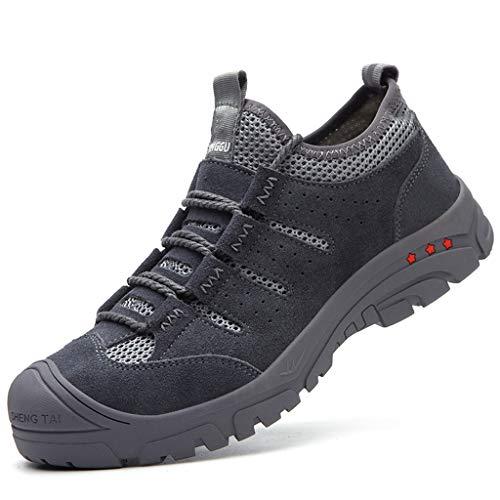 WggWy Calzado Protector Casual, Zapatos De Seguridad De Moda Zapatos De Trabajo De Seguridad De Sitio Ligero Cómodo Anti Smash Anti Puncture Wearable,Gris,38