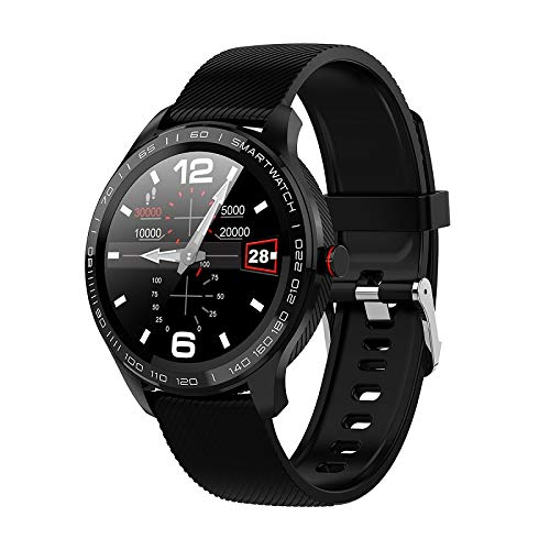 L9 ECG Smart Horloges Heren Volledige Ronde Multi-Touchable Smartwatch IP68 Sport Horloges Voor Mannen Bluetooth Herinnering/Muziek,Black