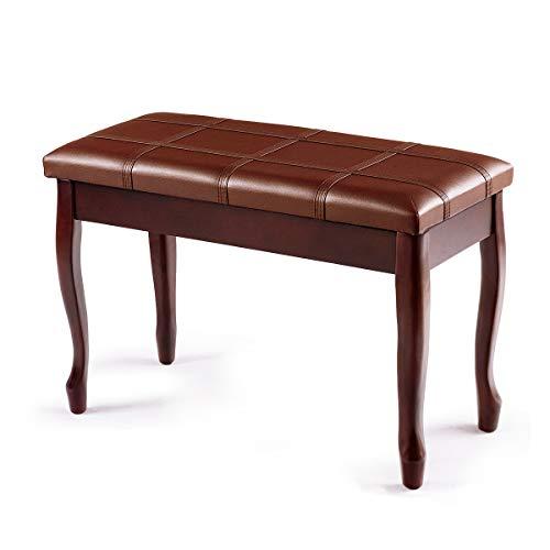 COSTWAY Klavierbank mit Notenfach, Klavierhocker aus Massivhoz, Pianobank gepolstert, Piano-Sitzbank braun, Keyboardbank 75 x 35 x 49cm