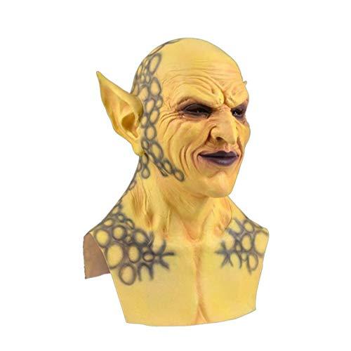 LZ Mscara Facial de Halloween, Payaso Demonio, mscara de Vampiro orco, mscara de ltex, Vestido de rol de Terror, Disfraz de Diablo, Accesorios para Juegos de rol/Amarillo