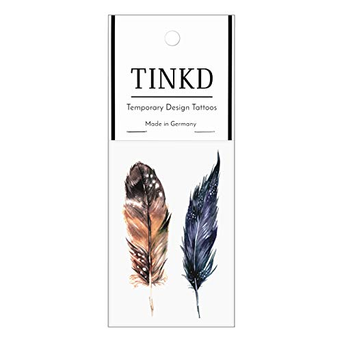 TINKD Temporary Tattoo Watercolor Feathers - Federn-Tattoos - Made in Germany